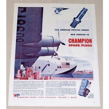 1945 Champion Spark Plugs Pan Am Airways Vintage Color Print Ad