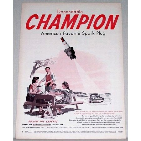 1948 Champion Spark Plug Vintage Color Print Ad - Follow The Experts