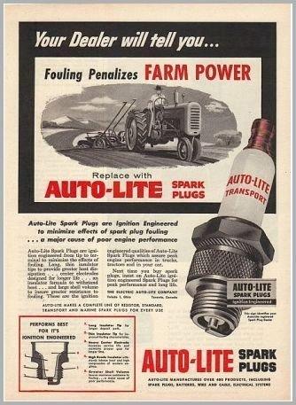1955 Auto Lite Spark Plugs Vintage Farm Tractor Print Ad - Farm Power