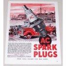 1945 AC Spark Plugs Ship Port Paulsen Art Vintage Color Print Ad