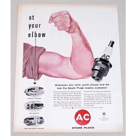 1957 AC Spark Plugs Vintage Color Print Ad - At Your Elbow