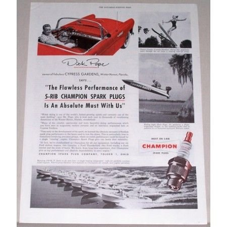 1955 Champion Spark Plug Vintage Color Print Ad Dick Pope Cypress Gardens
