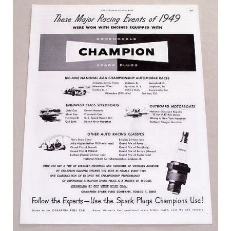 1949 Champion Spark Plugs Major Racing Events 1949 Vintage Print Ad