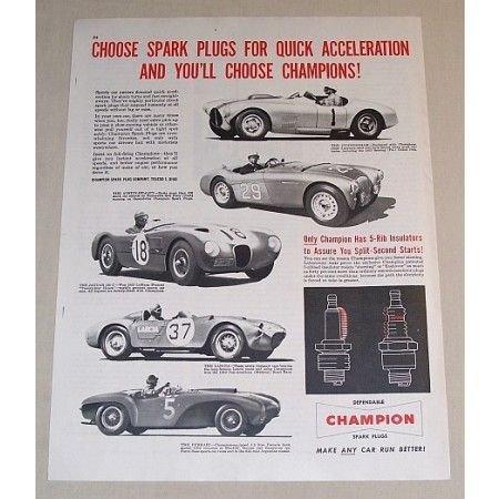 1954 Champion Spark Plugs Sport Cars Vintage Print Ad