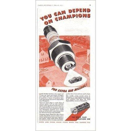 1938 Champion Spark Plugs Vintage Color Print Ad - Extra Gas Mileage