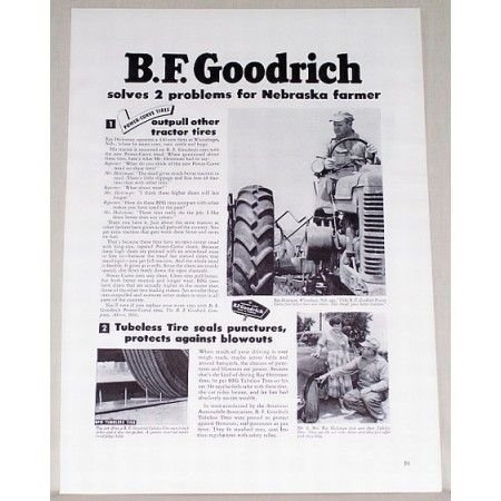 1951 B.F. Goodrich Farm Tractor Tires Vintage Print Ad