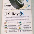 1955 U.S Royal 8 Eight Tubeless Tires Vintage Color Print Ad