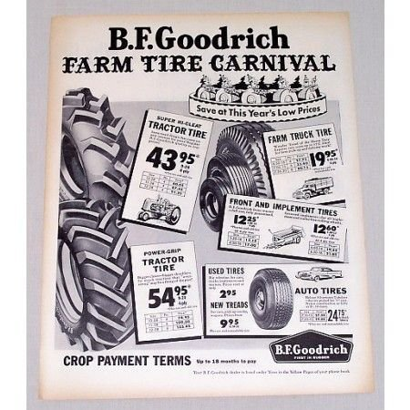 1957 B.F. BF Goodrich Farm Tires Farm Tire Carnival Vintage Print Ad