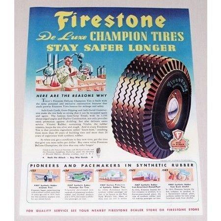 1944 Firestone Deluxe Champion Tires Vintage Color Print Ad