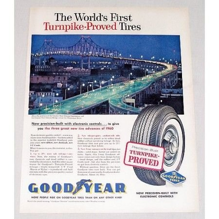 1960 Goodyear Tires New Orleans Expressway Bridge Vintage Color Print Ad