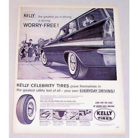 1959 Kelly Springfield Tires Station Wagon Vintage Print Ad