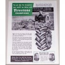 1954 Firestone Champions Farm Tractor Tires Vintage Print Ad