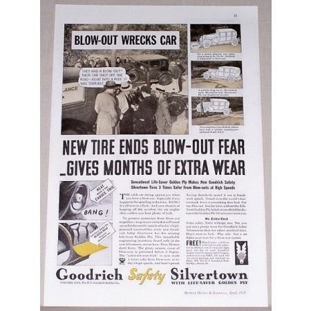 1934 Goodrich Safety Silvertown Tires Vintage Print Ad - Ends Blow-Out