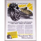 1941 BF Goodrich Silvertown Tractor Tires Wartime WWII Tank Art Vintage Color Print Ad