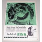 1946 Fisk Air Flight DeLuxe Tires Vintage Color Print Ad - Time To Re-Tire