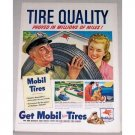 1948 Mobil Deluxe Tires Vintage Color Print Art Ad - Tire Quality