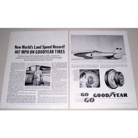 1963 Goodyear Tires Spirit Of America Speed Record 2 Page Vintage Print Ad