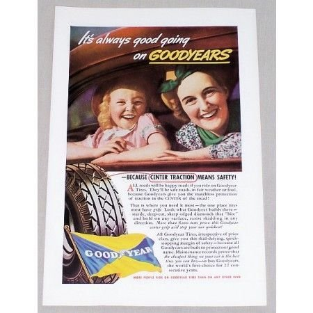 1937 Goodyear Tires Vintage Color Print Ad - Center Traction Safety