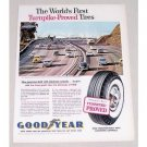 1960 Goodyear Tires California Bay Shore Freeway Vintage Color Print Ad