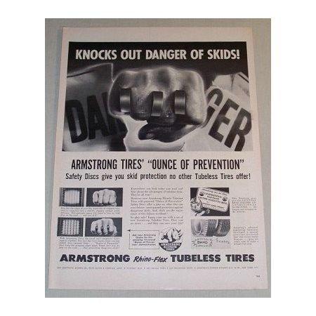 1955 Armstrong Rhino-Flex Tubeless Tires Vintage Print Ad