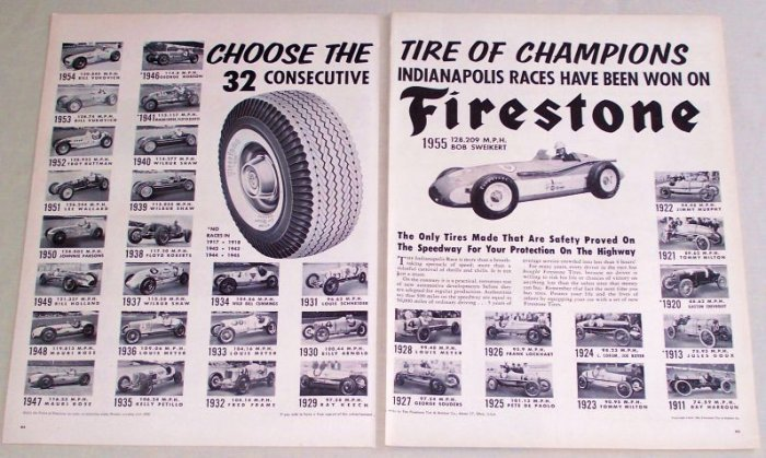 1955 Firestone Tires 32 Indianapolis 500 Race Winners 2 Page Vintage Print Ad