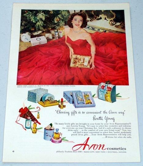 1952 Avon Cosmetics Vintage Color Print Makeup Ad Celebrity Loretta Young