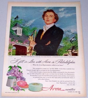 1949 Avon Cosmetics Vintage Color Print Art Ad Mrs. Henry Canby Biddle Jr.
