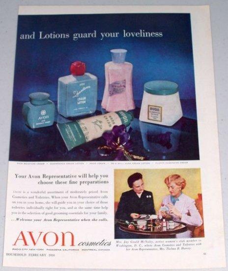 1954 Avon Cosmetics Creams Lotions 2 Page Vintage Color Print Ad