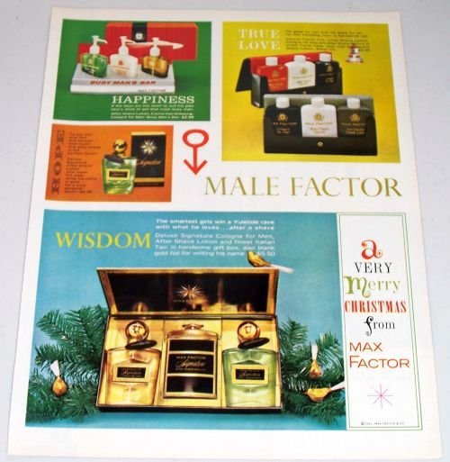 1961 Max Factor Man Factor Mens Products Vintage Color Print Ad