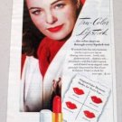 1945 Max Factor Hollywood Trye-Color Lipstick Vintage Color Print Ad Celebrity Ella Raines