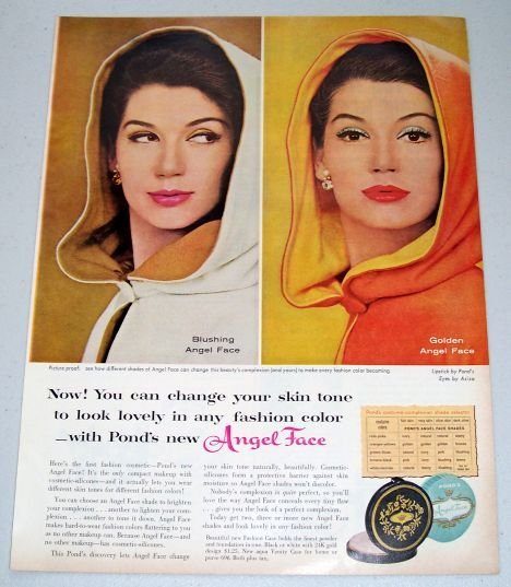 1960 Ponds Angel Face Cosmetic Make Up Vintage Color Print Ad