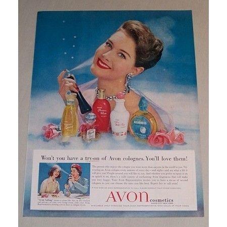 1958 Avon Cosmetics Vintage Color Print Makeup Ad Avon Cologne