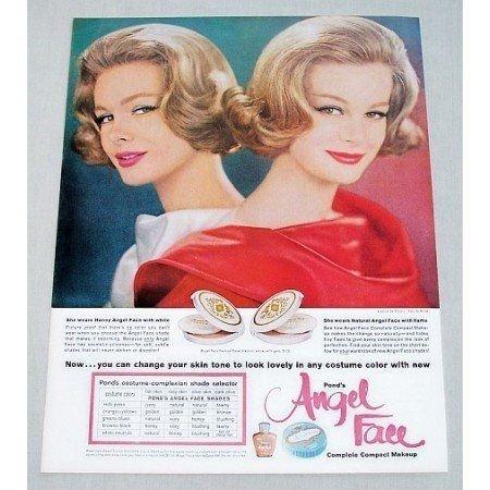 1961 Pond's Angel Face Compact Makeup Vintage Color Print Ad