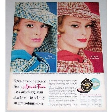 1961 Pond's Angel Face Compact Make Up Vintage Color Print Ad