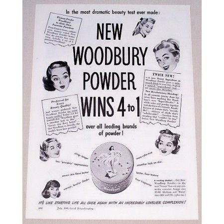 1948 Woodbury Powder Venus Powder Box Vintage Print Ad