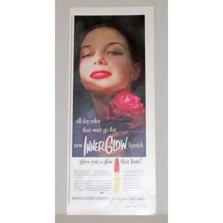 1957 Cashmere Cosmetics Inner Glow Lipstick Vintage Color Print Ad