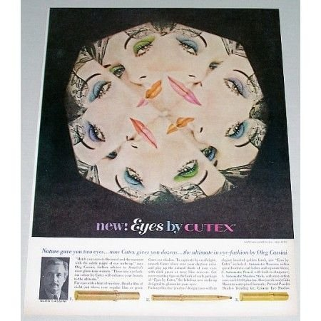 1962 Cutex Eye Make-Up Vintage Color Print Ad - Eyes By Cutex