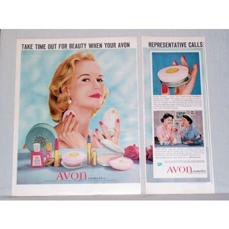 1957 Avon Cosmetics 1.5 Page Vintage Color Print Ad - Take Time Out