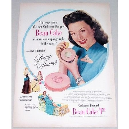 1947 Cashmere Bouquet Make Up Vintage Color Print Ad Celebrity Ginny Simms
