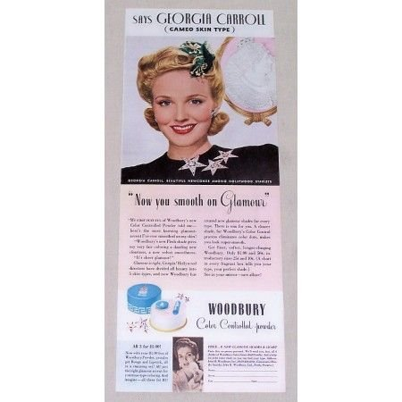 1942 Woodbury Powder Vintage Color Print Ad Celebrity Georgia Carroll