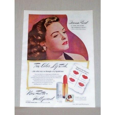 1945 Max Factor Lipstick Vintage Color Print Ad Celebrity Donna Reed