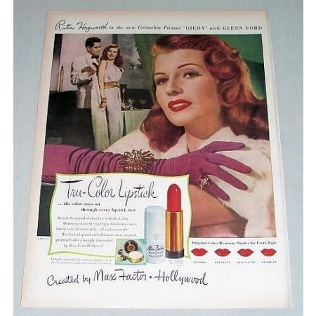1946 Max Factor Lipstick Color Print Ad Celebrity Rita Hayworth