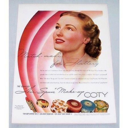1940 COTY Air-Spun Make Up Color Print Ad - Match Made