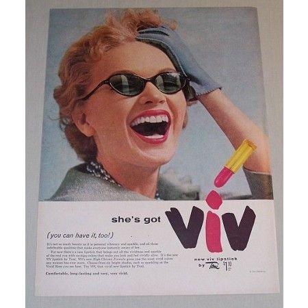 1955 Toni VIV Lipstick Color Cosmetics Color Print Ad