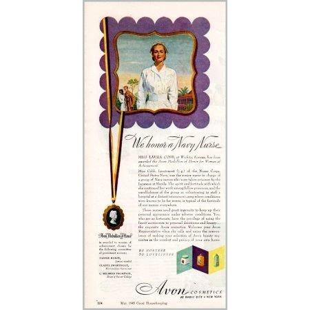 1945 Avon Cosmetics Color Print Ad - We Honor A Navy Nurse