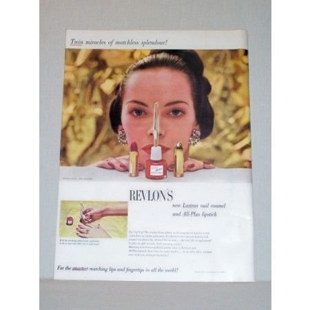 1948 Revlon's Lastron Nail Enamel All Plus Lipstick Color Print Ad