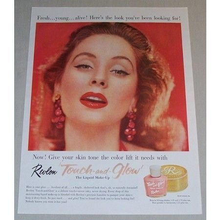 1957 Revlon Touch and Glow Liquid Make-Up Color Print Ad