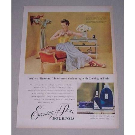 1949 Bourjois Evening in Paris Perfume Color Print Ad