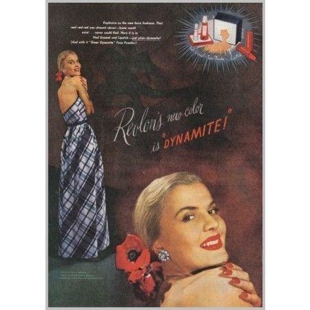 1945 Revlon Cosmetics Face Powder Lipstick Color Print Ad