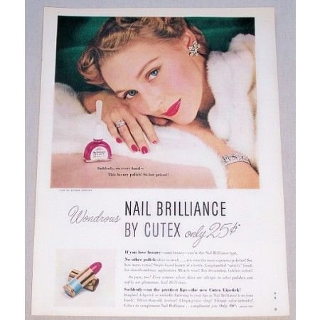 1949 Nail Brilliance by Cutex Pink Spangle Color Print Ad
